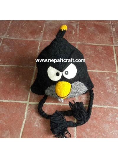 Woolen Products    Hand Knitted Woolen Hats    Woolen Black Angry Bird  Design Hat 04900b0cb98b